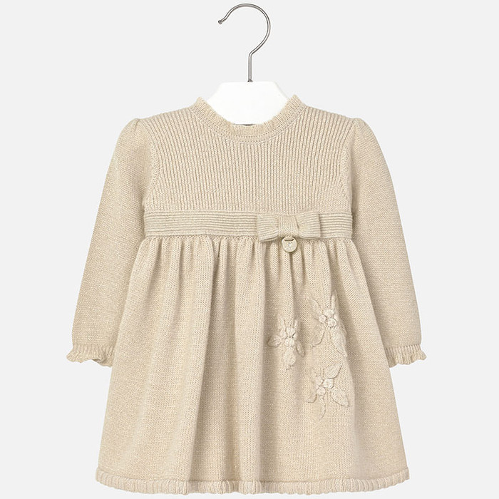 Mayoral Baby Girls Floral Knitted Dress, Almond