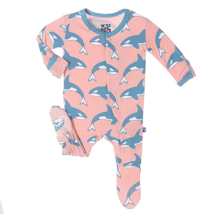 KicKee Pants Print Fitted Footie, Blush Orca