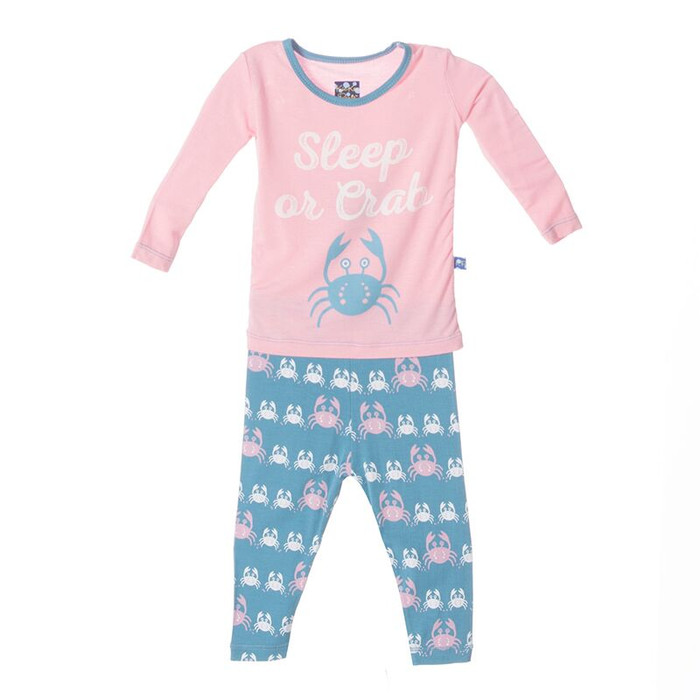 Kickee Pants Print Long Sleeve Pajama Set, Blue Moon Crabbies