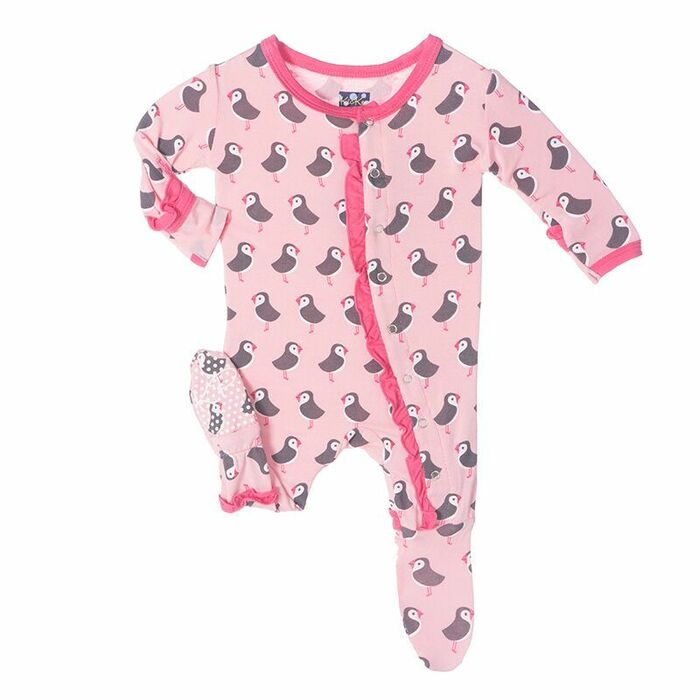 KicKee Pants Muffin Ruffle Footie, Lotus Puffin