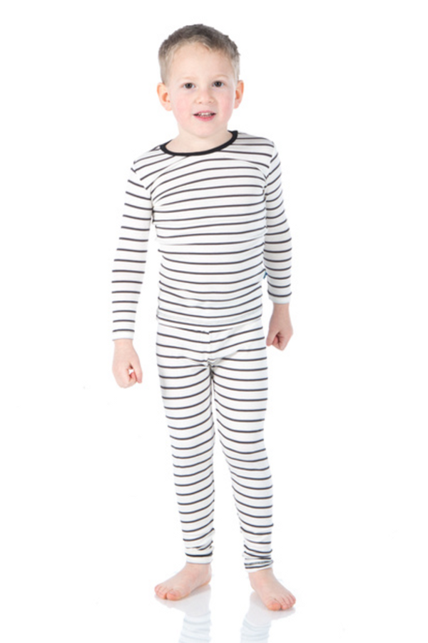 Kickee Pants Print Long Sleeve Pajama Set - Neutral Parisian Stripe