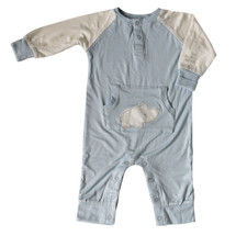 Silkberry Baby - Bamboo Romper with Kangaroo Pocket & Rhino Applique