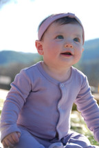 L'ovedbaby 100% Organic Cotton Gl'oved-Sleeve Overall, Lavender Modeled by Adorable Baby