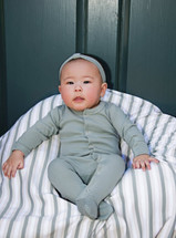 L'ovedbaby 100% Organic Cotton Gl'oved-Sleeve Overall, Seafoam Modeled by Adorable Baby