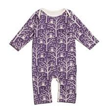 Winter Water Factory Long-Sleeve Romper - Night Owls Purple