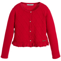 Mayoral Girls Knitted Cardigan, Red