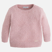 Mayoral Girls Short Faux Fur Sweater, Pink