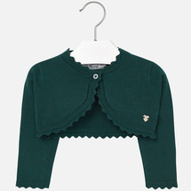 Mayoral Baby Girls Knitted Bolero Cardigan, Bottle Green