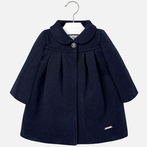 Mayoral Baby Girls Mouflon Wool Coat, Navy