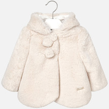 Mayoral Baby Girls Faux Fur Eared Hooded Coat, Beige