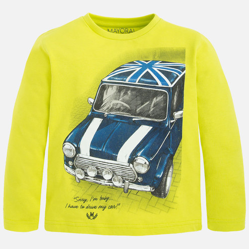 Mayoral Boys Brit Car Shirt, Lemon Tea
