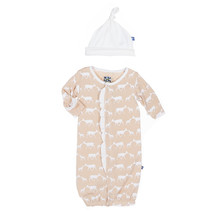 Kickee Pants Ruffle Layette Gown Converter & Knot Hat Set, Doe and Fawn