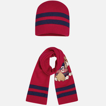 Mayoral Baby Beanie and Scarf Set, Cherry
