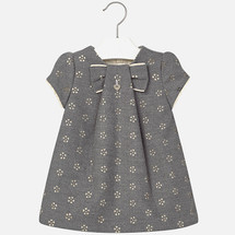 Mayoral Baby Girls Eyelet Flannel Dress, Gray
