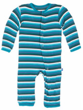 Kickee Pants Print Fitted Coverall, Boy Forest Stripe