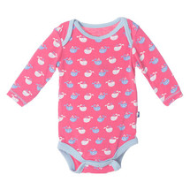 Kickee Pants Print Long Sleeve One Piece, Winter Rose Tiny Whale