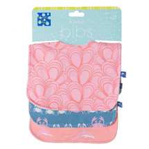 Kickee Pants Bib Set of 3, Blush Dolphin, Blue Moon Crabbies  & Lotus Mussels