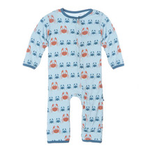 Kickee Pants Print Fitted Coverall, Pond Crabbies