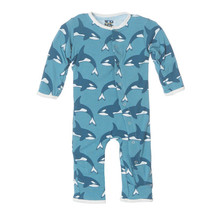 Kickee Pants Print Fitted Coverall, Blue Moon Orca