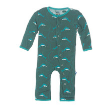 Kickee Pants Print Fitted Coverall, Seaweed Dolphin