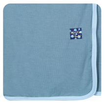 Kickee Pants Solid Swaddling Blanket, Dusty Sky with Pond
