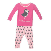 Kickee Pants Print Long Sleeve Pajama Set, Lotus Puffin