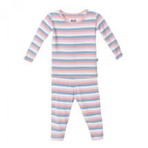 Kickee Pants Print Long Sleeve Pajama Set, Girl Salty Seas Stripe
