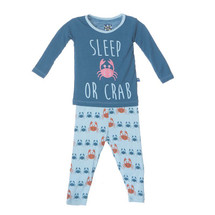 Kickee Pants Print Long Sleeve Pajama Set, Pond Crabbies