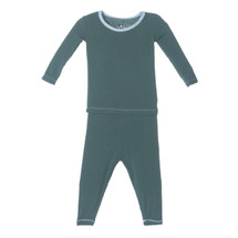Kickee Pants Solid Long Sleeve Pajama Set, Seaweed with Pond