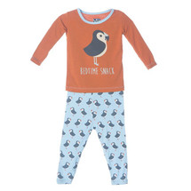 Kickee Pants Print Long Sleeve Pajama Set, Pond Puffin