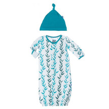 Kickee Pants Print Layette Gown Converter & Knot Hat Set, Natural Seaweed