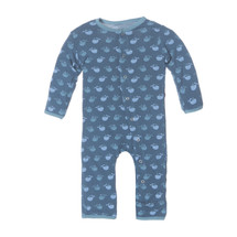 Kickee Pants Print Fitted Coverall, Twilight Tiny Whale