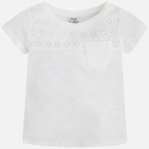 Mayoral Girls Embroidered Tee, Natural