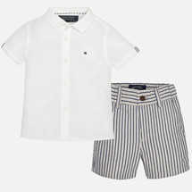 Mayoral Baby Boys Linen Shorts Set, Sand