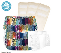 bumGenius Flip Diapers Potty Training Kit 1 trainer + 3 organic cotton pads, Love/White