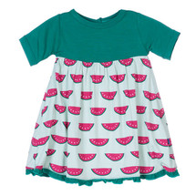 Kickee Pants Short Sleeve Swing Dress, Watermelon