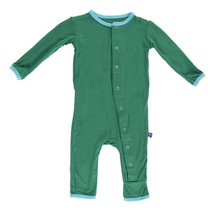 Kickee Pants Solid Fitted Coverall, Shady Glade with Confetti