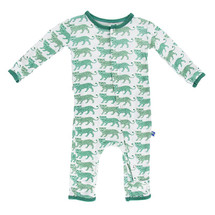 Kickee Pants Print Fitted Coverall, Natural Leopard
