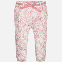 Mayoral Baby girl floral print long trousers, Blush