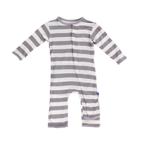 Kickee Pants Essentials Print Coverall, Feather Contrast Stripe