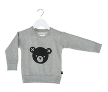 Huxbaby Organic Cotton Bear Essentials Fleece Sweatshirt, Grey Marle