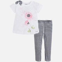Mayoral Girls Gingham Leggings Set, Black (TB-03539-066)