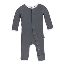 Kickee Pants Solid Coverall, Stone with Natural