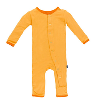 Kickee Pants Fitted Coverall, Fuzzy Bee with Sunset