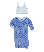 Kickee Pants Layette Gown Converter & Knot Hat Set, Kite Water Lattice