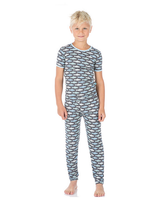 Kickee Pants Print Short Sleeve Pajama Set, Stone Trout