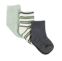 KicKee Pants Sock Set of 3 - Aloe, Boy Fresh Water Stripe & Stone