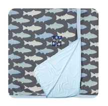 Kickee Pants Custom Stroller Blanket, Stone Trout with Pond Trim & Backing