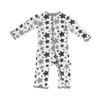 Kickee Pants Essentials Print Ruffle Coverall, Feather/Rain Stars