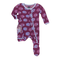Kickee Pants Print Ruffle Footie, Grapevine Sheep